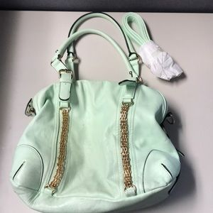 Mint Green Faux Leather Shoulder Bag w/Gold Chains